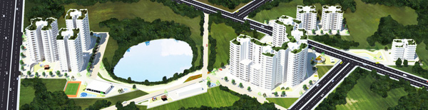 3d Bird eye view of the housing development