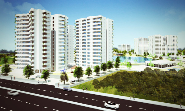 3d view of the houseing development. View from the main road