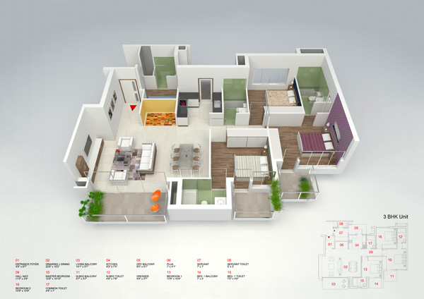 3d view of the 3 bedroom apartments