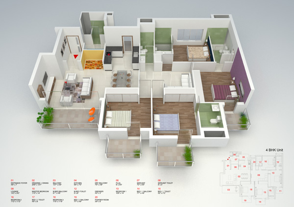 3d view of the 4 bedroom apartments